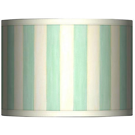 Seaside Stripe Green Giclee Glow Lamp Shade 13.5x13.5x10 (Spider)