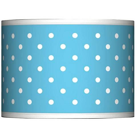Mini Dots Aqua Giclee Glow Lamp Shade 13.5x13.5x10 (Spider)