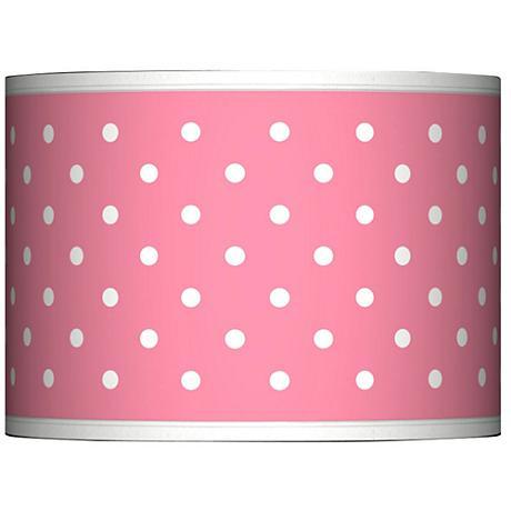 Mini Dots Pink Giclee Glow Lamp Shade 13.5x13.5x10 (Spider)