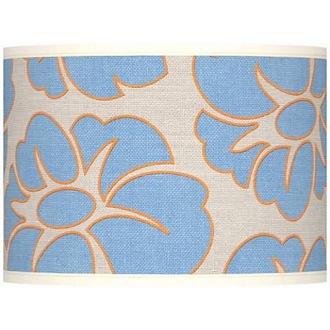 Floral Blue Silhouette Giclee Drum Shade 13.5x13.5x10 (Spider)