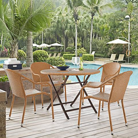 Palm Harbor Light Brown 5-Piece Outdoor Cafe Dining Set