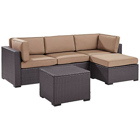 Biscayne Mocha Fabric 4-Piece 4-Person Outdoor Seating Set