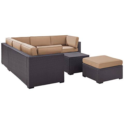 Biscayne Mocha Fabric 5-Piece 6-Person Outdoor Seating Set