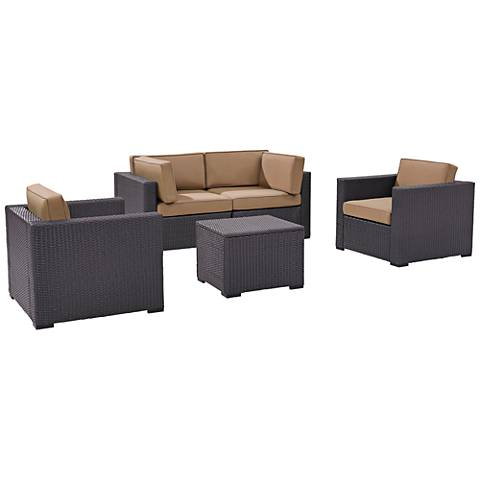 Biscayne Mocha Fabric 5-Piece 4-Person Outdoor Seating Set