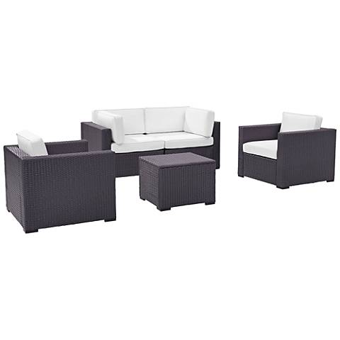Biscayne White Fabric 5-Piece 4-Person Outdoor Seating Set