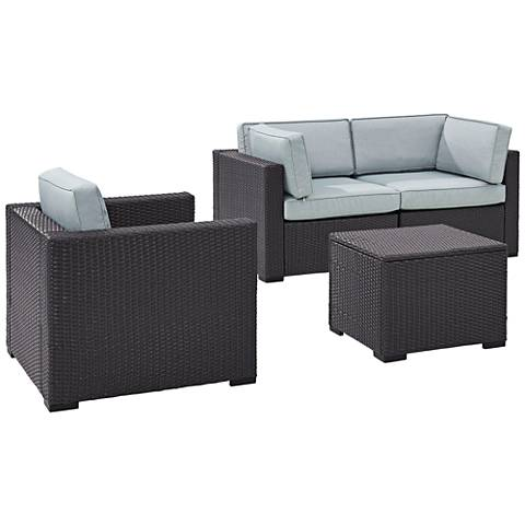 Biscayne Mist Fabric 4-Piece 3-Person Outdoor Seating Set