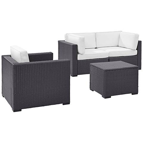 Biscayne White Fabric 4-Piece 3-Person Outdoor Seating Set