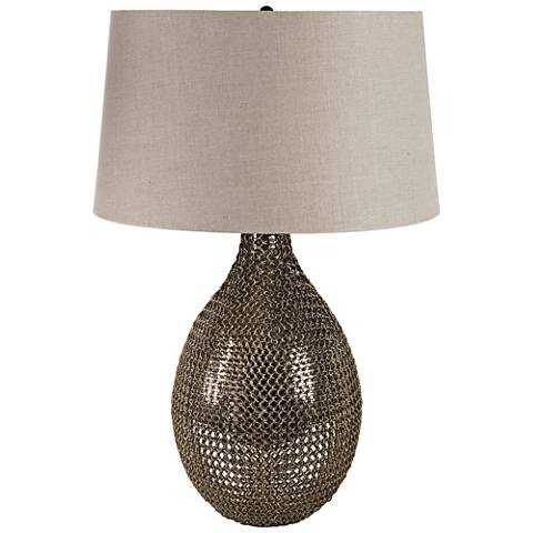 Cowser Antique Brass Chain Link Vessel Table Lamp