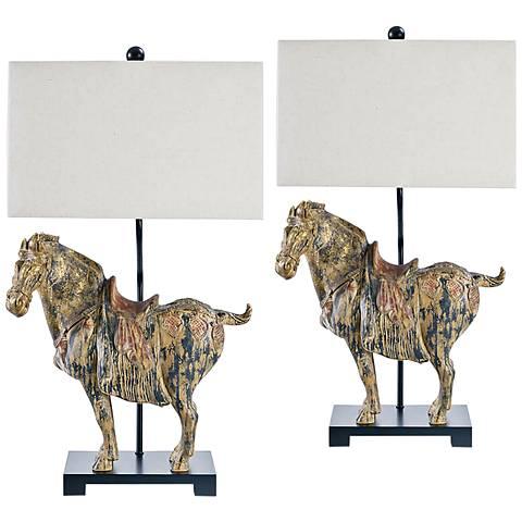 Regina Andrew Dynasty Horse Table Lamp Set of 2