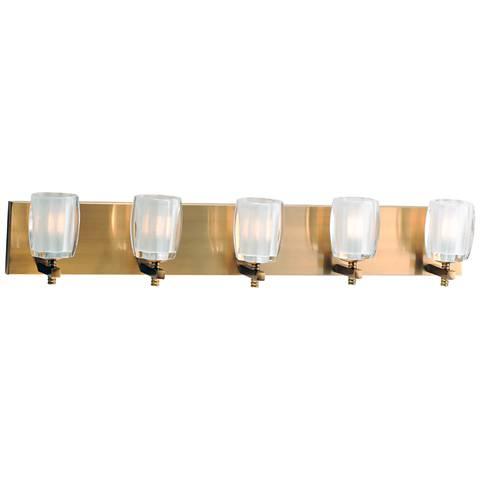 """Maxim Bravado 33"""" Wide Golden Bronze 5-LED Bath Light"""