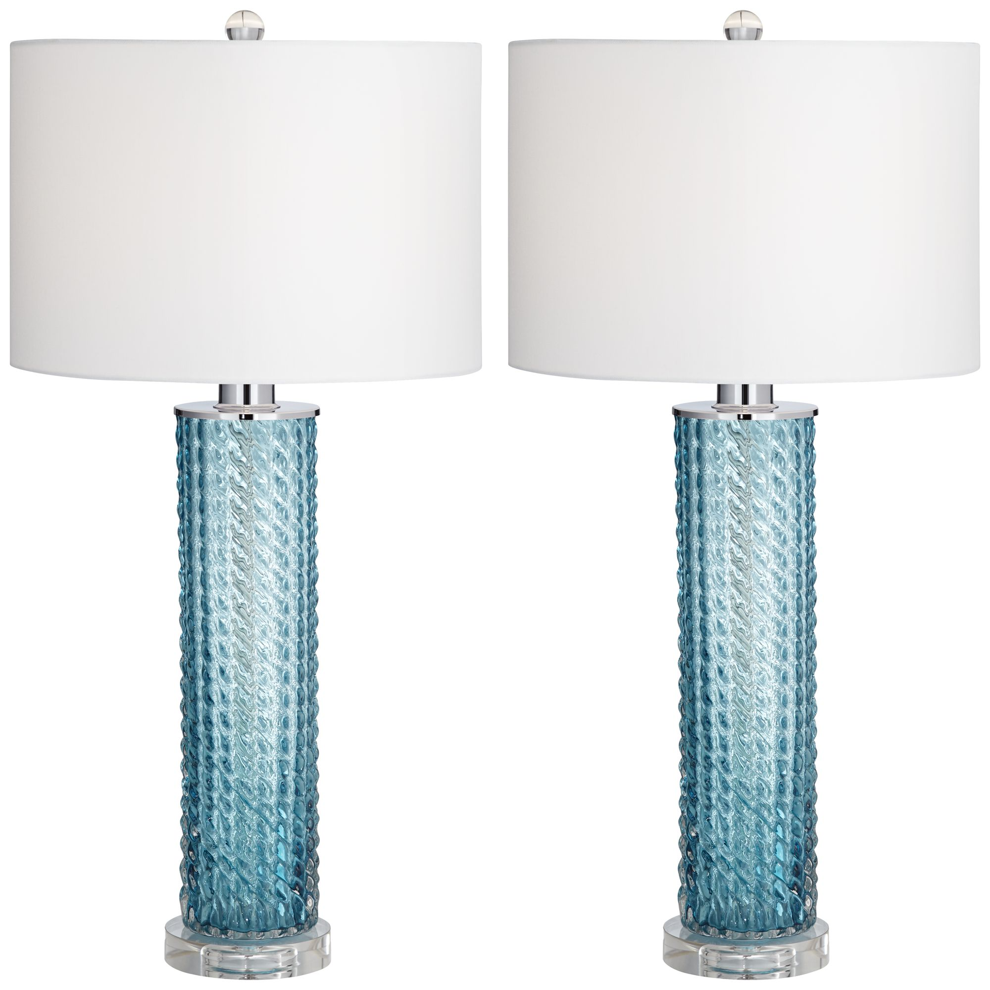 Renzo Blue Sea Glass Table Lamp Set Of 2