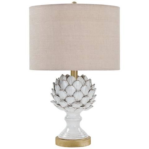 Leafy Artichoke Off-White Ceramic Accent Table Lamp