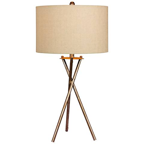Breslen Rusted Silver Tripod Metal Table Lamp