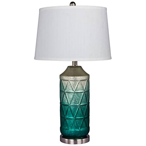 Ellemonde White Mercury Glass and Green Column Table Lamp