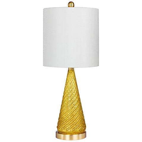 Double Dip Spiraled Cone Gold Glitter Glass Table Lamp