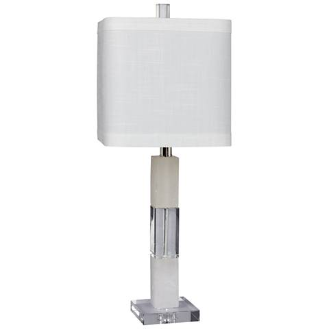 Gaylia Crystal and Snow Marble Stacked Block Table Lamp