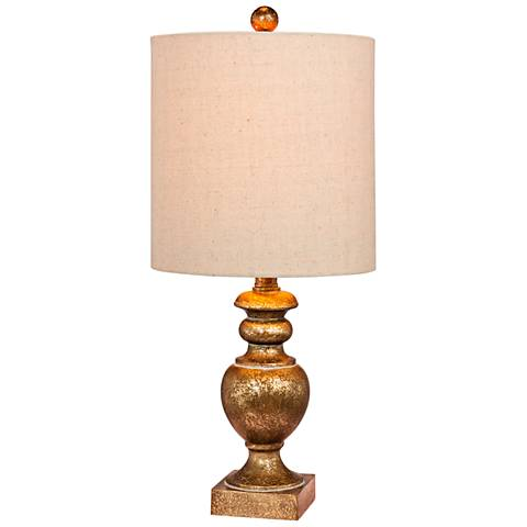 Cairo Antiqued Gold Leaf Textured Urn Accent Table Lamp