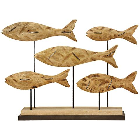"""School of Fish 30 3/4"""" Wide Natural Wood Statue"""
