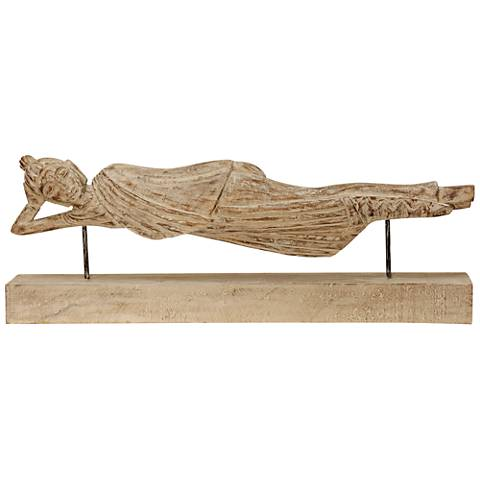 """Vintage Reclining Woman 30 3/4"""" Wide Natural Wood Figurine"""