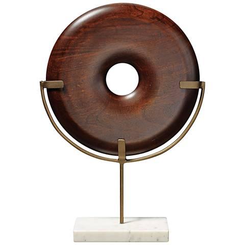 "Jamie Young Archie 15 1/2""H Dark Wood Round Object Sculpture"