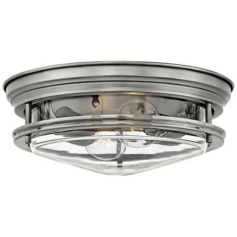 "Hinkley Hadley 12"" Wide Antique Nickel 2-Light Ceiling Light"