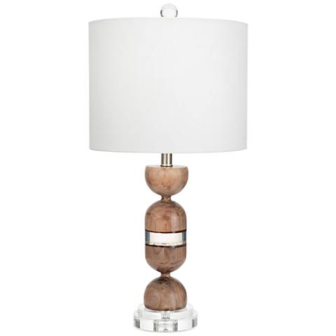 Couture Martinique Natural Walnut and Clear Table Lamp