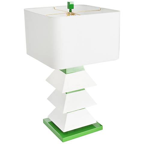 Couture Erzi White and Kelly Green Table Lamp