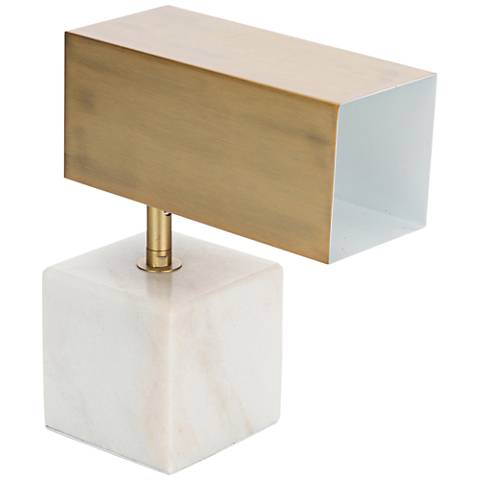Hermosa White Marble and Brass Adjustable Accent Table Lamp