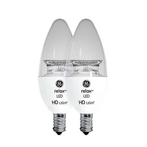 60W Equivalent GE Clear 6.5W LED Candelabra Torpedo 2-Pack
