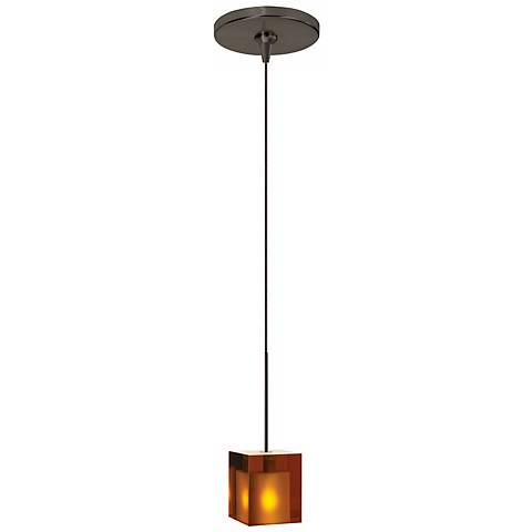 Cube Amber Glass Bronze Tech Lighting Mini Pendant
