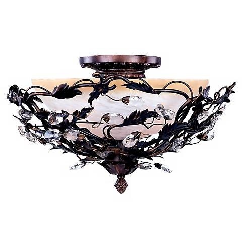 """Vine and Crystal Droplets 16 1/2"""" Wide Ceiling Light Fixture"""