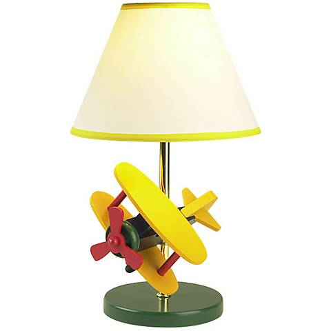 "Zoom Wooden Airplane Children's 15""H Accent Table Lamp"