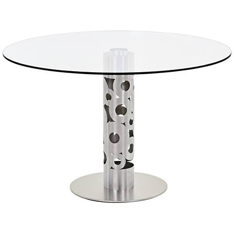 Berlin Clear Glass And Stainless Steel Round Dining