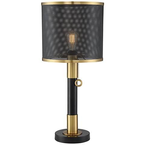 Possini Euro Helios Brass and Black LED Column Table Lamp