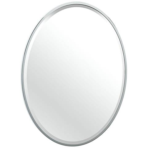 """Luxe Flush Mount Chrome 25"""" x 33"""" Framed Oval Wall Mirror"""