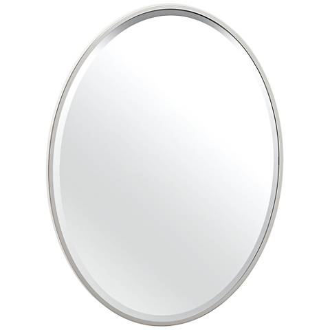 "Luxe Flush Mount Nickel 25"" x 33"" Framed Oval Wall Mirror"