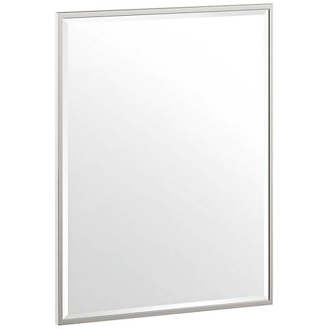 "Luxe Flush Mount Nickel 24 1/2"" x 32 1/2"" Framed Wall Mirror"
