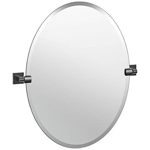 "Elevate Matte Black 24"" x 26 1/2"" Frameless Oval Wall Mirror"