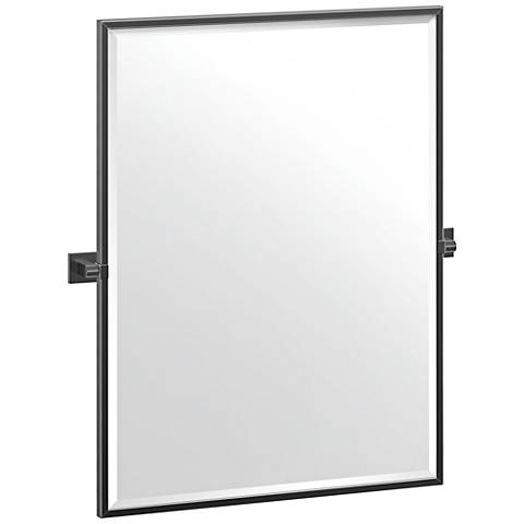 "Elevate Matte Black 27 3/4"" x 32 1/2"" Framed Wall Mirror"