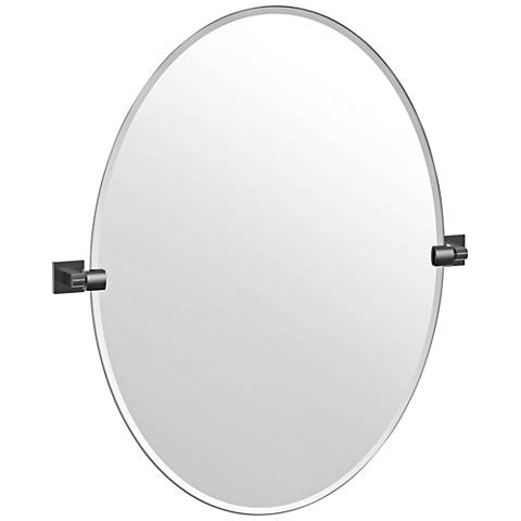 "Elevate Matte Black 28 1/2"" x 32"" Frameless Oval Wall Mirror"