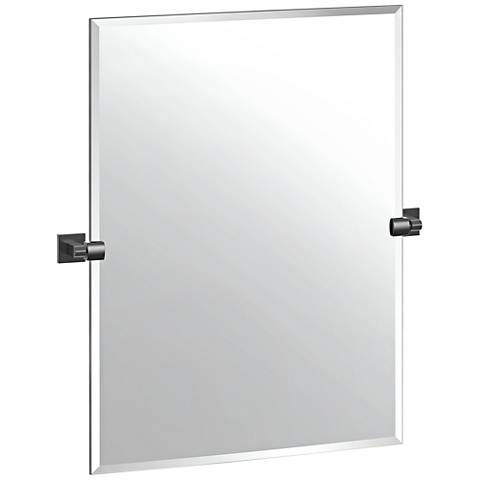 "Elevate Matte Black 27 1/2"" x 31 1/2"" Frameless Wall Mirror"