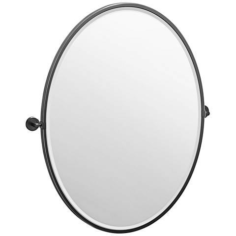 "Latitude II Black 28 1/4"" x 33"" Framed Oval Wall Mirror"