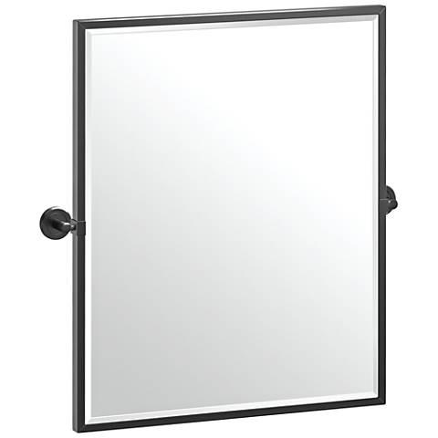 "Latitude II Matte Black 23 3/4"" x 25"" Framed Wall Mirror"