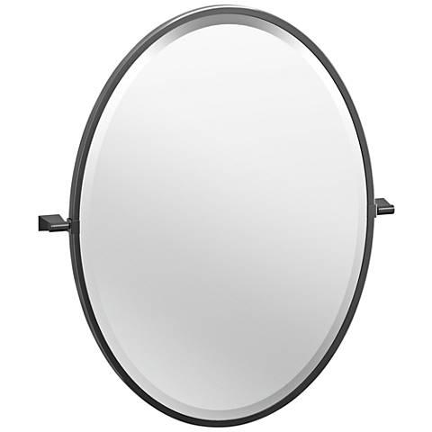 """Bleu Matte Black 23 1/2"""" x 27 1/2"""" Framed Oval Wall Mirror"""