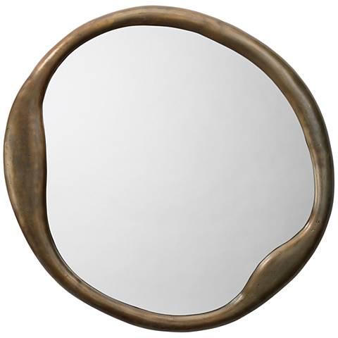 "Jamie Young Organic Antique Brass 36"" Round Wall Mirror"