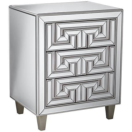 Art Deco 3-Drawer Mirrored Accent Table