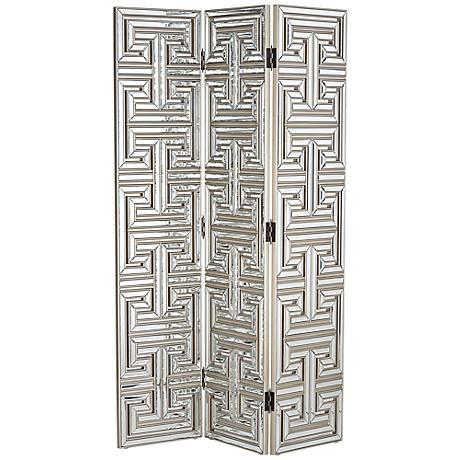 Mirrored Art Deco 3-Panel Room Divider Screen