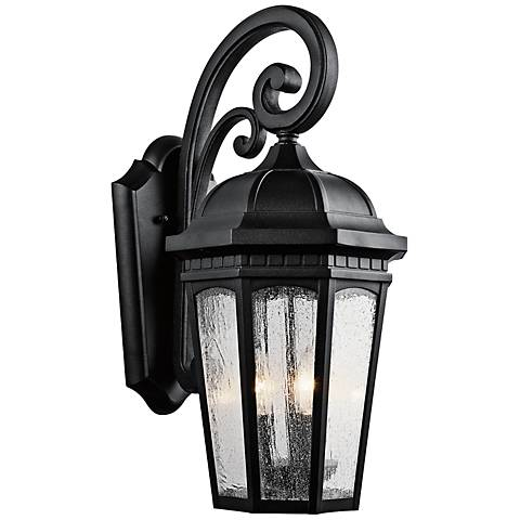 "Kichler Courtyard 22 1/4"" High Black Outdoor Wall Light"