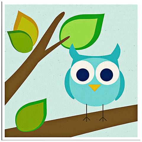 "Owl Giclee 10"" Square Retro Modern Wall Art"