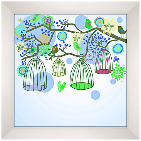 """Bird Cages Giclee 13 1/2"""" Square Contemporary Wall Art"""